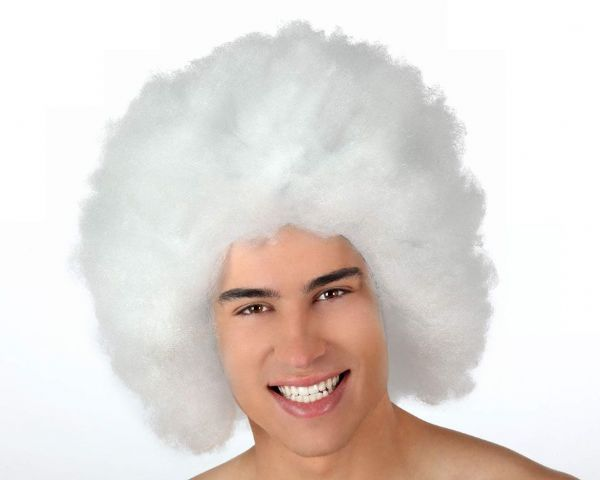 Hair Wig Afro White 40cm Pimp Clown Fellaini 70s 80s